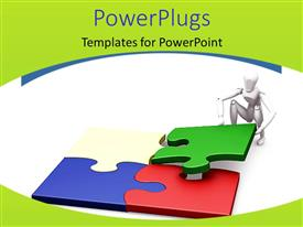 PowerPlugs: PowerPoint template with problem solving metaphor with white human putting together jigsaw puzzle pieces