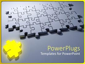 PowerPlugs: PowerPoint template with problem solving metaphor with yellow puzzle piece and gray 3D jigsaw