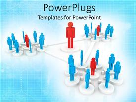 PowerPlugs: PowerPoint template with productivity leadership metaphor with red person in middle of triangle with employee teams at each point