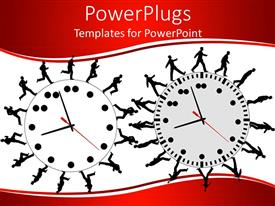 PowerPlugs: PowerPoint template with productivity metaphor with business people running and walking on clocks
