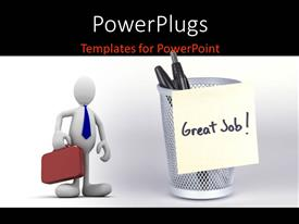 PowerPlugs: PowerPoint template with a professional with the bag and white background