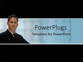 PowerPlugs: PowerPoint template with a professional with bluish background and place for text