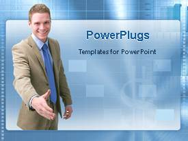 PowerPoint template displaying a professional with boxes in the background