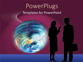 PowerPlugs: PowerPoint template with a professional couple with globe in the background