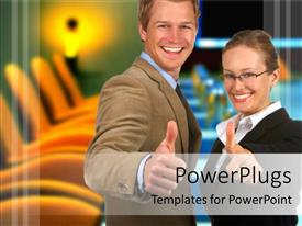 PowerPoint template displaying a professional couple with office in the background
