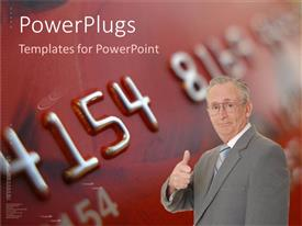 PowerPoint template displaying a professional with a credit card in the background