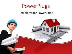 PowerPlugs: PowerPoint template with a professional girl with a model house in the background