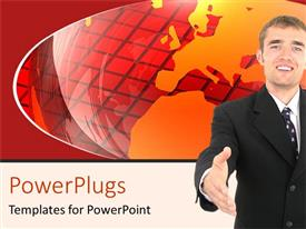 PowerPlugs: PowerPoint template with a professional with a globe in the background