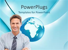 PowerPoint template displaying a professional with globe in the background