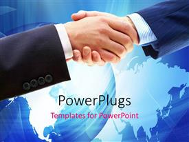 PowerPoint template displaying a professional hand shake with globe in background