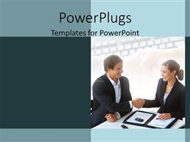 PowerPoint template displaying a professional hand shake with keyboard in the background