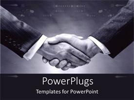PowerPlugs: PowerPoint template with a professional handshake with black and white background