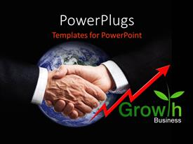 PowerPlugs: PowerPoint template with a professional handshake with blackish background