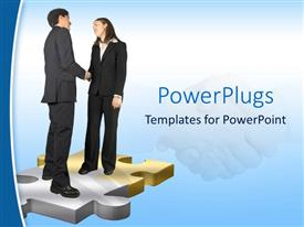 PowerPlugs: PowerPoint template with a professional handshake with bluish background and place for text