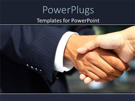 PowerPlugs: PowerPoint template with a professional handshake with blurred background