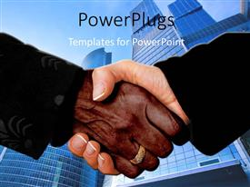 PowerPoint template displaying a professional handshake with buildings in background