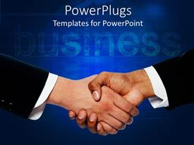 PowerPoint template displaying a professional handshake with business in the background