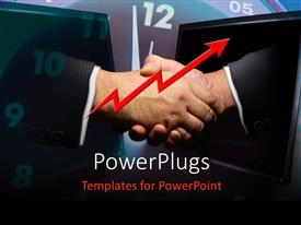 PowerPlugs: PowerPoint template with a professional handshake with clock in the background