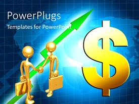 PowerPlugs: PowerPoint template with a professional handshake with dollar sign at a side