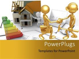 PowerPlugs: PowerPoint template with a professional handshake with a house in the background