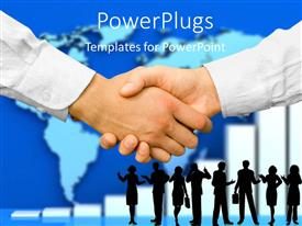 PowerPlugs: PowerPoint template with a professional handshake with map in the background