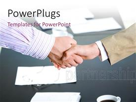 PowerPlugs: PowerPoint template with a professional handshake with papers in background