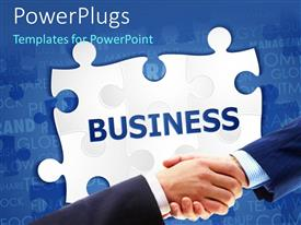 PowerPlugs: PowerPoint template with a professional handshake with puzzle piece in background
