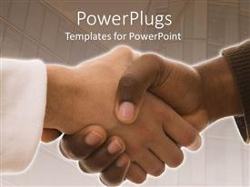 PowerPlugs: PowerPoint template with a professional handshake with stairs in the background