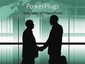 PowerPoint template displaying a professional handshake with windows in the background