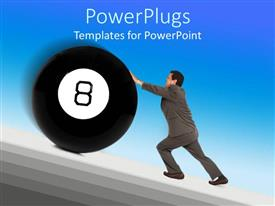 PowerPlugs: PowerPoint template with a professional holding the eight ball with bluish background