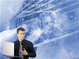 PowerPlugs: PowerPoint template with a professional with a laptop and dollars in the background