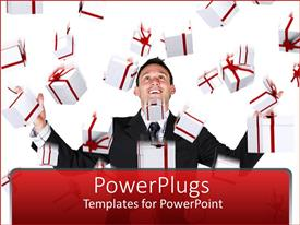 PowerPlugs: PowerPoint template with a professional with a lot of gift hampers