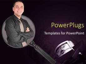 PowerPlugs: PowerPoint template with a professional with a magnifying glass and purple background