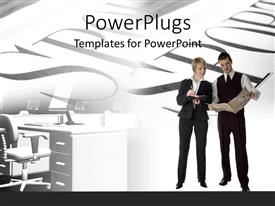 PowerPlugs: PowerPoint template with a professional male and female with words in the background