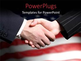 PowerPlugs: PowerPoint template with a professional meetup with American flag in the background