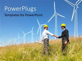 PowerPlugs: PowerPoint template with a professional meetup with a blue sky in the background