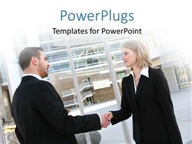 PowerPlugs: PowerPoint template with a professional meetup with building in the background