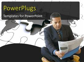 PowerPlugs: PowerPoint template with a professional with a newspaper and puzzle pieces in background