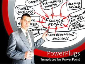 PowerPlugs: PowerPoint template with a professional with a number of finance related stuff in the background