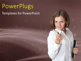 PowerPlugs: PowerPoint template with a professional with a pen and stardust in background