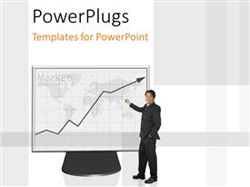 PowerPlugs: PowerPoint template with a professional person with a graph on a screen