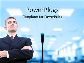 PowerPlugs: PowerPoint template with a professional ready for a speech with lights in the background
