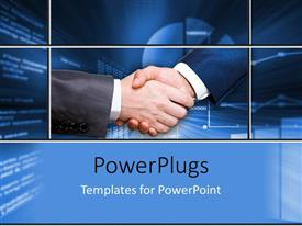 PowerPoint template displaying a professional shake hand with bluish background