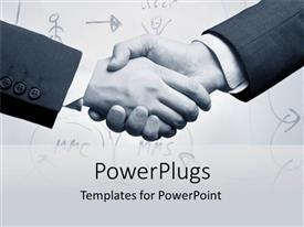 PowerPlugs: PowerPoint template with a professional shake hand with figures in the background