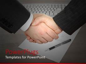 PowerPoint template displaying a professional shake hand with a keyboard in the background