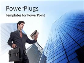 PowerPlugs: PowerPoint template with a professional with skyscrapers in the background