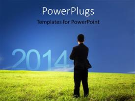PowerPlugs: PowerPoint template with a professional standing on the grass with bluish background