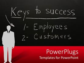 PowerPoint template displaying a professional with the success rules in the background
