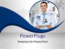 PowerPlugs: PowerPoint template with a professional with a  tab and various people online