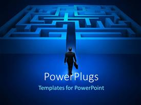 PowerPlugs: PowerPoint template with a professional walking into a bluish maze with black background